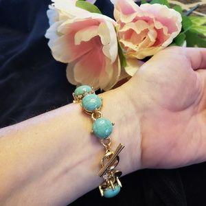Jewelry - TURQUOISE GOLD TONED PRONG SET BRACELET